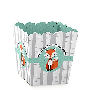 Mr. Foxy Fox - Party Mini Favor Boxes - Personalized Birthday Party Treat Candy Boxes - Set of 12