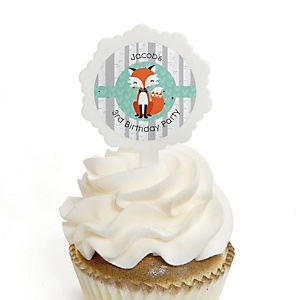 Mr. Foxy Fox - Personalized Birthday Party Cupcake Pick and Sticker Kit - 12 ct