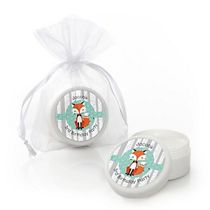 Mr. Foxy Fox - Personalized Birthday Party Lip Balm Favors - Set of 12
