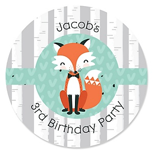 Mr. Foxy Fox - Personalized Birthday Party Sticker Labels - 24 ct