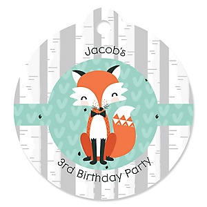 Mr. Foxy Fox - Round Personalized Birthday Party Tags - 20 ct