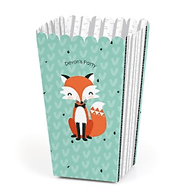 Mr. Foxy Fox - Personalized Party Popcorn Favor Treat Boxes - Set of 12