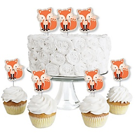 Fox - Dessert Cupcake Toppers - Baby Shower or Birthday Party Clear Treat Picks - Set of 24