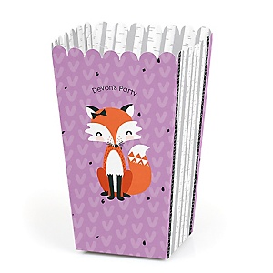 Miss Foxy Fox - Personalized Party Popcorn Favor Treat Boxes