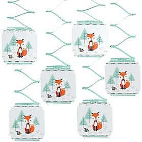 Mr. Foxy Fox - Baby Shower Hanging Decorations - 6 ct