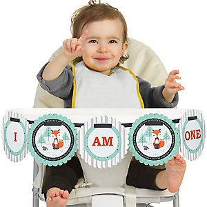 Mr. Foxy Fox 1st Birthday - I am One - First Birthday High Chair Banner