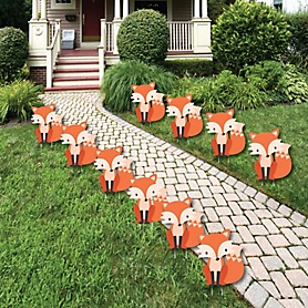 Fox - Lawn Decorations - Outdoor Baby Shower or Birthday Party Yard Decorations - 10 Piece