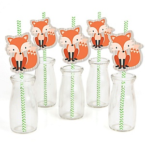 Fox - Paper Straw Decor - Baby Shower or Birthday Party Striped Decorative Straws - Set of 24