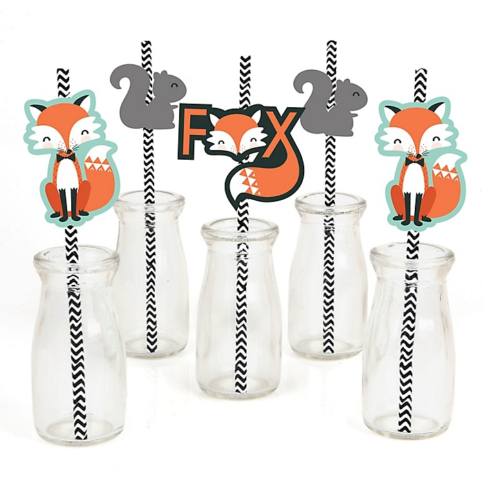 Mr. Foxy Fox - Paper Straw Decor - Baby Shower or Birthday Party Striped Decorative Straws - Set of 24