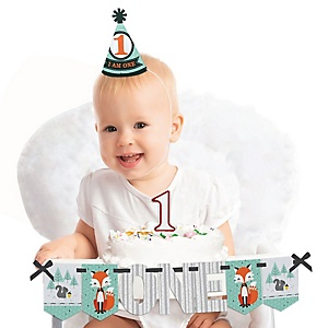 Mr. Foxy Fox 1st Birthday - First Birthday Boy Smash Cake Decorating Kit - High Chair Decorations