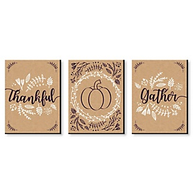 Elegant Thankful and Gather - Fall Wall Art and Thanksgiving Decor - 7.5 x 10 inches - Set of 3 Prints