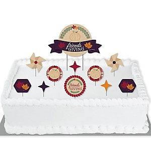 Friends Thanksgiving Feast - Friendsgiving Party Cake Decorating Kit - Cake Topper Set - 11 Pieces