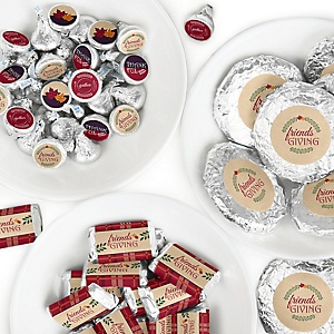 Friends Thanksgiving Feast - Mini Candy Bar Wrappers, Round Candy Stickers and Circle Stickers - Friendsgiving Party Candy Favor Sticker Kit - 304 Pieces