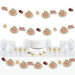 Friends Thanksgiving Feast - Friendsgiving Party DIY Decorations - Clothespin Garland Banner - 44 Pieces