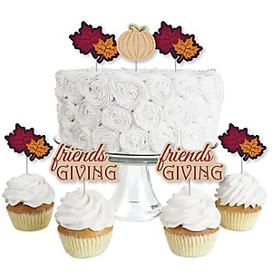 Friends Thanksgiving Feast - Dessert Cupcake Toppers - Friendsgiving Clear Treat Picks - Set of 24
