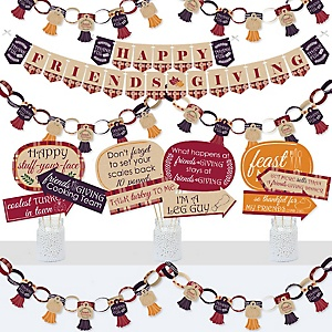 Friends Thanksgiving Feast - Banner and Photo Booth Decorations - Friendsgiving Party Supplies Kit - Doterrific Bundle