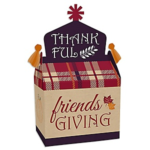 Friends Thanksgiving Feast - Treat Box Party Favors - Friendsgiving Party Goodie Gable Boxes - Set of 12