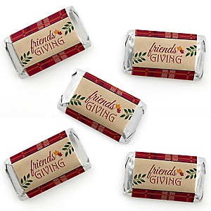 Friends Thanksgiving Feast - Mini Candy Bar Wrapper Stickers - Friendsgiving Small Favors - 40 Count