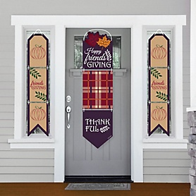 Friends Thanksgiving Feast - Hanging Porch Front Door Signs - Friendsgiving Party Banner Decoration Kit - Outdoor Door Decor