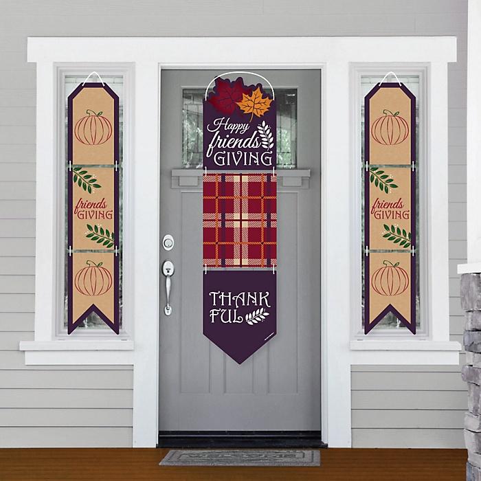 Friends Thanksgiving Feast - Hanging Porch Front Door Signs - Friendsgiving Party Banner Decoration Kit - Outdoor Door Decor