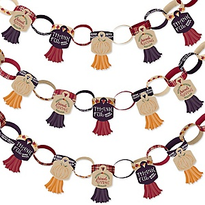 Friends Thanksgiving Feast - 90 Chain Links and 30 Paper Tassels Decoration Kit - Friendsgiving Party Paper Chains Garland - 21 feet