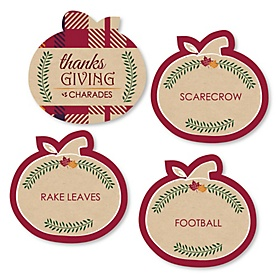 Thanksgiving Feast - Friendsgiving Party Game - Holiday Charades Cards - Set of 24