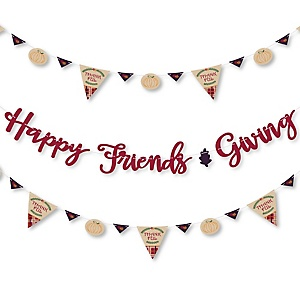 Friends Thanksgiving Feast - Friendsgiving Party Letter Banner Decoration - 36 Banner Cutouts and Happy Friends Giving Banner Letters