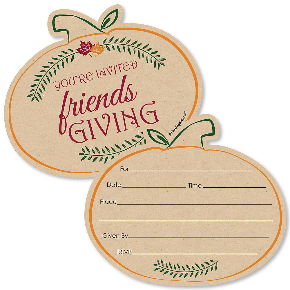 Friends Thanksgiving Feast Shaped Fill In Invitations Friendsgiving Party Invitation Cards With Envelopes Set Of 12