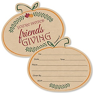 Friends Thanksgiving Feast - Shaped Fill-In Invitations - Friendsgiving Party Invitation Cards with Envelopes - Set of 12