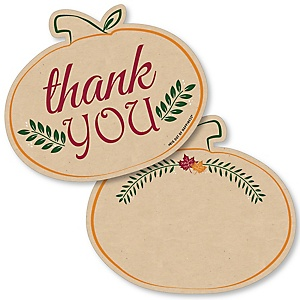 Friends Thanksgiving Feast - Shaped Thank You Cards - Friendsgiving Party Thank You Note Cards with Envelopes - Set of 12