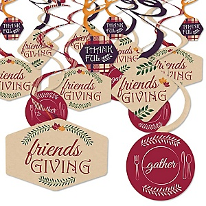 Friends Thanksgiving Feast - Friendsgiving Party Hanging Decor - Party Decoration Swirls - Set of 40