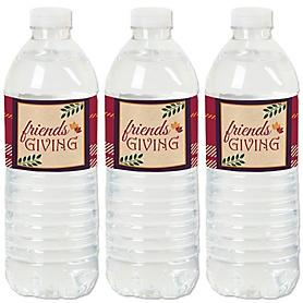 Friends Thanksgiving Feast - Friendsgiving Party Water Bottle Sticker Labels - Set of 20
