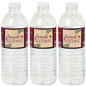 Friends Thanksgiving Feast - Friendsgiving Party Water Bottle Sticker Labels - Set of 20