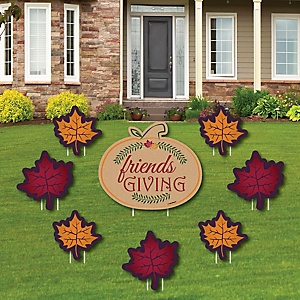 Friends Thanksgiving Feast - Yard Sign & Outdoor Lawn Decorations - Friendsgiving Party Yard Signs - Set of 8