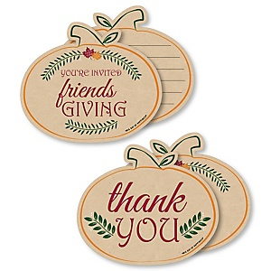 Friends Thanksgiving Feast - 20 Shaped Fill-In Invitations and 20 Shaped Thank You Cards Kit - Friendsgiving Party Stationery Kit - 40 Pack