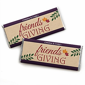 Friends Thanksgiving Feast - Personalized Candy Bar Wrapper Friendsgiving Party Favors - Set of 24