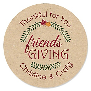 Friends Thanksgiving Feast - Personalized Friendsgiving Party Sticker Labels - 24 ct
