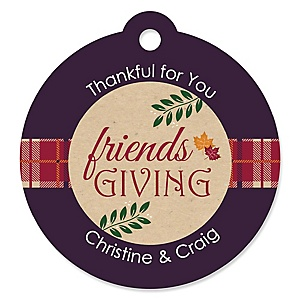 Friends Thanksgiving Feast - Personalized Friendsgiving Party Favor Gift Tags  - 20 ct