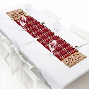 "Friends Thanksgiving Feast - Personalized Petite Friendsgiving Party Table Runner - 12"" x 60"""