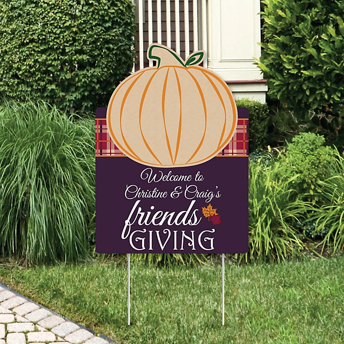 Friends Thanksgiving Feast - Party Decorations - Friendsgiving Party Personalized Welcome Yard Sign