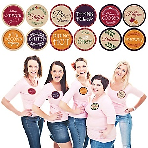 Friends Thanksgiving Feast - Friendsgiving Party Funny Name Tags - Party Badges Sticker Set of 12
