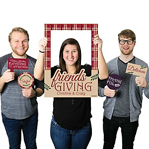 Friends Thanksgiving Feast - Personalized Friendsgiving Selfie Photo Booth Picture Frame & Props - Printed on Sturdy Material