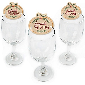 Friends Thanksgiving Feast - Shaped Friendsgiving Wine Glass Markers - Set of 24