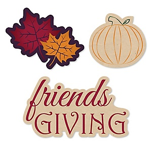 Friends Thanksgiving Feast - DIY Shaped Friendsgiving Party Cut-Outs - 24 ct