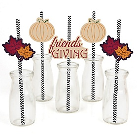 Friends Thanksgiving Feast - Friendsgiving Paper Straw Decor - Party Striped Decorative Straws - Set of 24