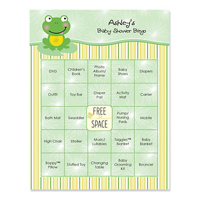 froggy frog personalized baby shower game bingo cards