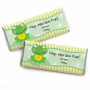Froggy Frog - Personalized Candy Bar Wrapper Baby Shower or Birthday Party Favors - Set of 24
