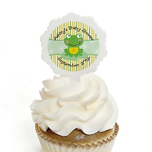 Froggy Frog - 12 Cupcake Picks & 24 Personalized Stickers - Baby Shower Cupcake Toppers