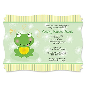 Froggy Frog Personalized Baby Shower Invitations Set Of 12 Dotofhiness