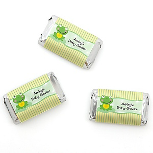 Froggy Frog - Personalized Baby Shower Mini Candy Bar Wrapper Favors - 20 ct